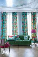 Beautiful floral curtain and sheers