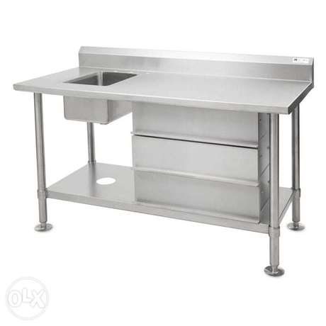 Stainless steel work table with sink