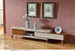 Cream and light brown adjustable Tv stand