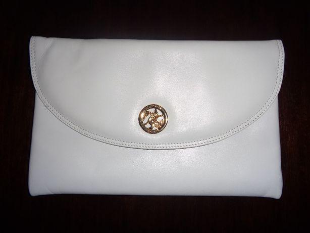 3ce5ce8d3f015 JANE SHILTON skórzana biała torebka kopertówka złote logo skóra nat.  Zielona Góra - image 1