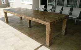 Patio table Chunky Farmhouse series 3500 Weatherlook with pillar legs