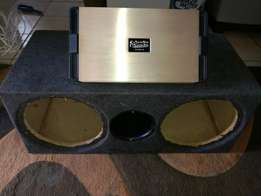 Monoblock amplifier 6000 watts and box for two 12 inch sub