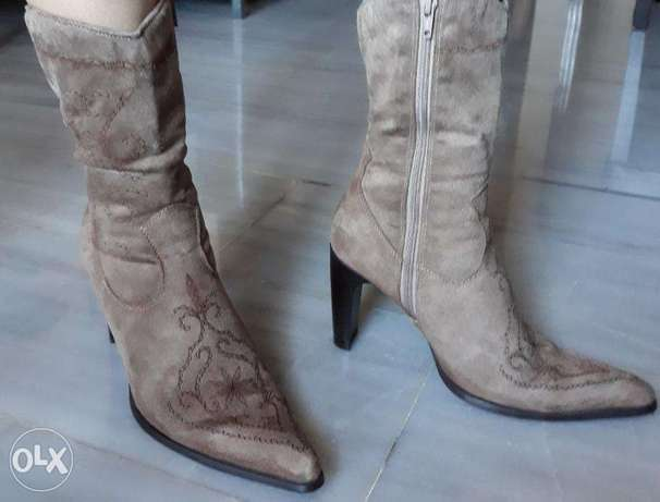 Suede Texas Boot - Camel Color - Size 38