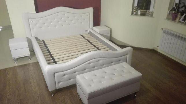 Komplet Sypialniany łóżko Pufa 2 Stoliki Nocne Kępno