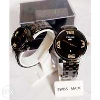 Police Couples Black Chain watch