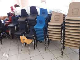 Plastic chairs with metal stands