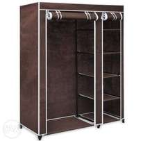 Mobile wardrobe closet with wheels- brown