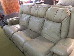 3 Piece Beige Leather Lounge Suite