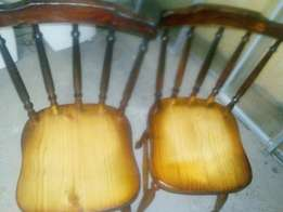 2 x solid as new pine chairs
