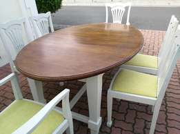 Solid Teak Extension Dining Table/6 Solid Teak Chairs