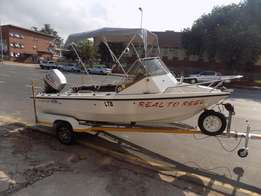 navarone 16 ft on trailer 60 hp mariner 4 stroke low hours