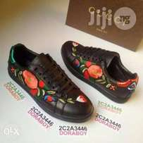 Black gucci floral sneakers