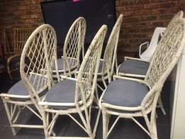 ((( 6 Cane Patio Chairs with Cushions )))