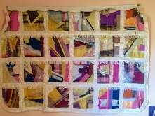 Wall Hanging, silk lined with patch work collage of square mosaics