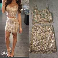 gold sequin two piece set