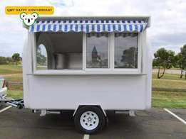White winter Mobile Coffee Trailer