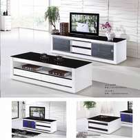 Glass paint TV cabinet and coffee table