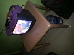 Television and plastic table