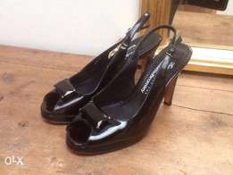 Neatly Used Designer Black RUSSEL & BROMLEY HEELED Shoe. SIZE 6 -39