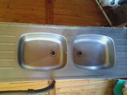 Double sink eith double waste stainer
