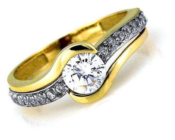 Złoty Pierścionek Zaręczynowy Pr0585 Z Cyrkoniami Okazja