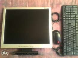 19 inch AOpen monitor, lenovo (usb) and a keyboard (usb)