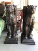 Leopard pedestals by Willie Botha