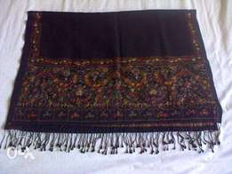 Black embroidered pashmina scarf