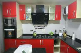 red glossy kitchen cabinet
