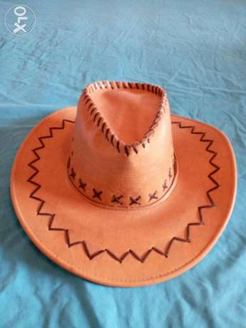 Leather hat.