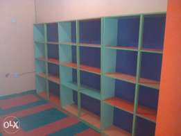9 Sets Of Fairly Used Multicolored HBF Plywood Showcase Stand