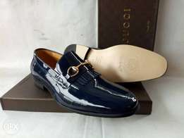 Blue Leather Gucci patent shoes