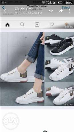 Ladies White Sneakers with Gold Embellishment Lagos Mainland - image 1