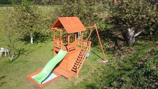 Rewelacyjny PROJEKT plac zabaw zjeżdżalnia domek dla dzieci huśtawka JO98