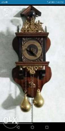 Antigue germany manuel clock bronze&wood