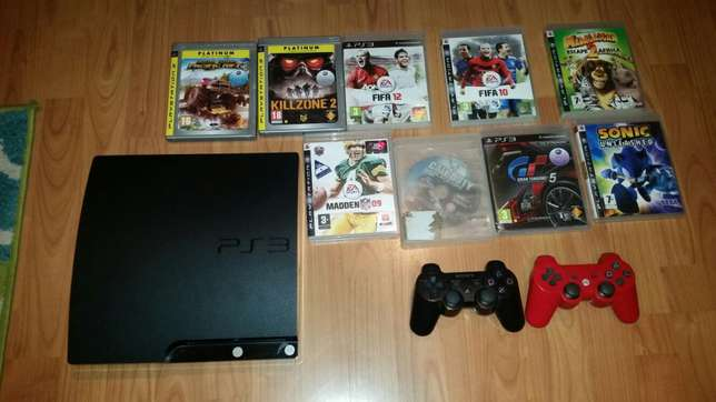 PS3 slimline, 2 controllers, 9 original games, HDMI cable Wetton - image 1