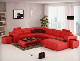 Gonta Red leather sofa with side pull out ottomans at ugx 1,050,000