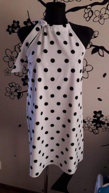 Nowa sukienka Mohito 36, biała w czarne grochy, okazja