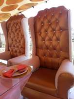 2 white chairs, 2 gold chairs and halfmoon table for sale