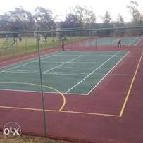 Tar surface / brick paving & Tennis courts