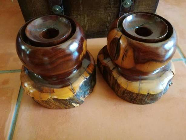 2 Heavy Wooden Candle Holders (Very Sturdy) Great Condition In Holder! Kempton Park - image 3