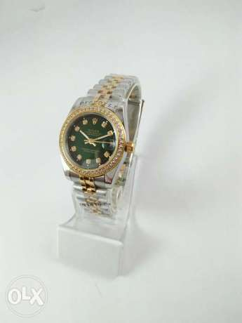 Rolex Watch Date Just Half Gold with Green First Copy