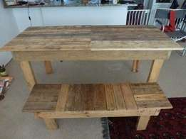 Beautiful wooden dining table and bench