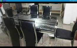 Stainless aniable leg dining table with c133 chairs for 6 setter