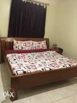King size bed, mattress and bedside table