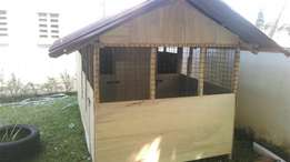 Dogs kennel has a partition of 2 rooms inside and a big space for play