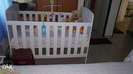 A set of. Baby's wardrobe, chest drawers and bed