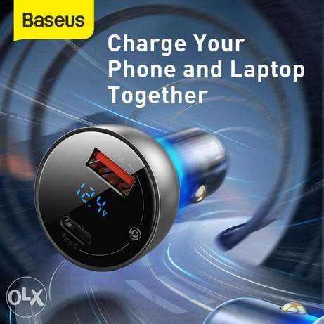Baseus Car Charger 65W with Digital Display for all Mobile حولي -  3