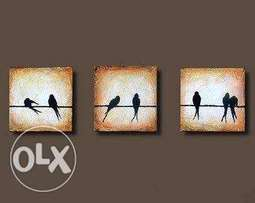 Wall art birds painting