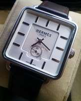Hermes leather wrist watch for unisex